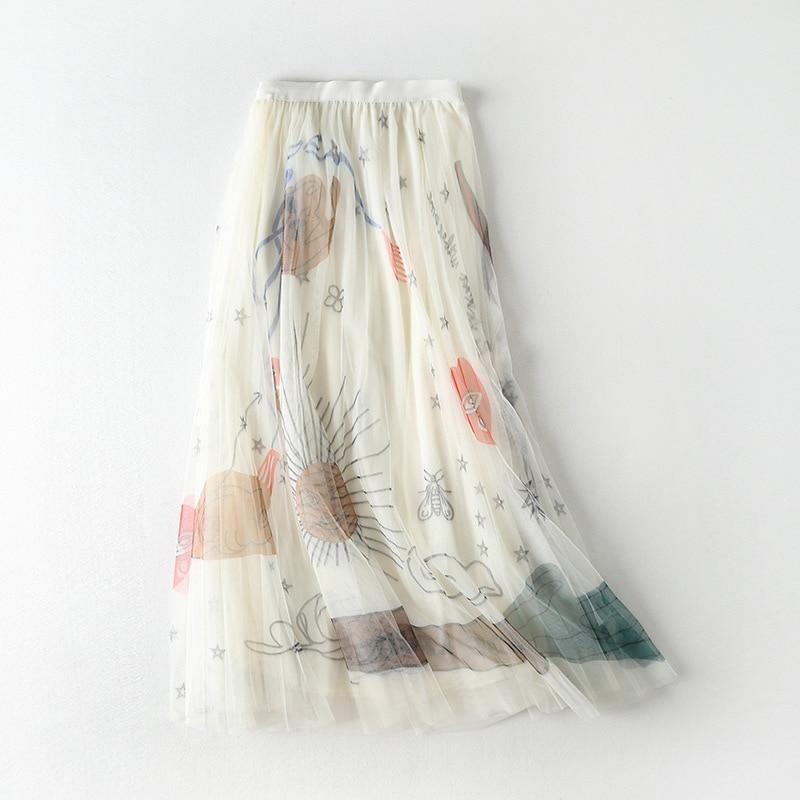 Graffiti Print Mesh Tulle Women's Skirts Elastic High Waist Long Skirt Female Summer 2020 Spring Ladies A-line Pleated Skirts