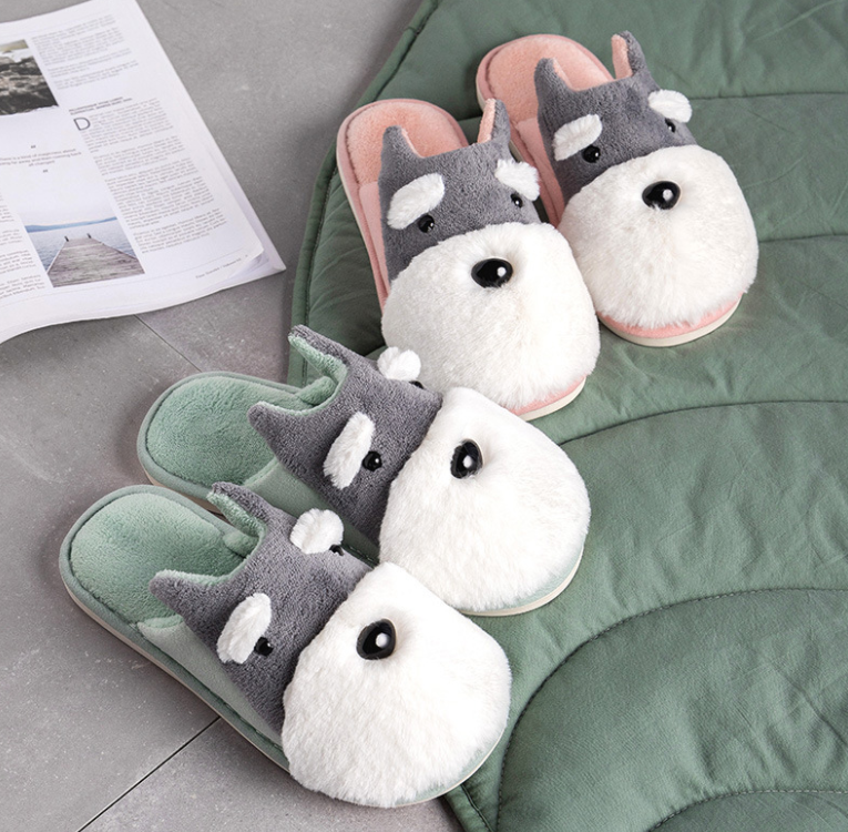 Cotton Slipper Woman Household Lovely Dog Slippers 2020 Winter Home Fur Indoor Lovers Man Women Couples Non-slip image