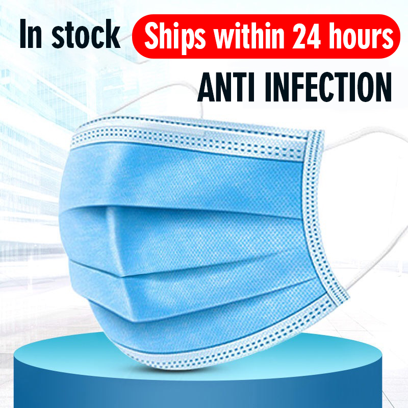 12-24 Hours Shipping Masks Disposable Protective 3-layer Anti Bacterial Dust-proof Breathable Waterproof Meltblown Cloth Mask