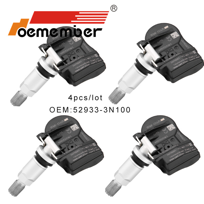 OEMEMBER 4pcs Car Tire Pressure Sensor 52933-3N100 TPMS Monitoring System 52933-2M650 For Hyundai Kia Car Security 433Mhz