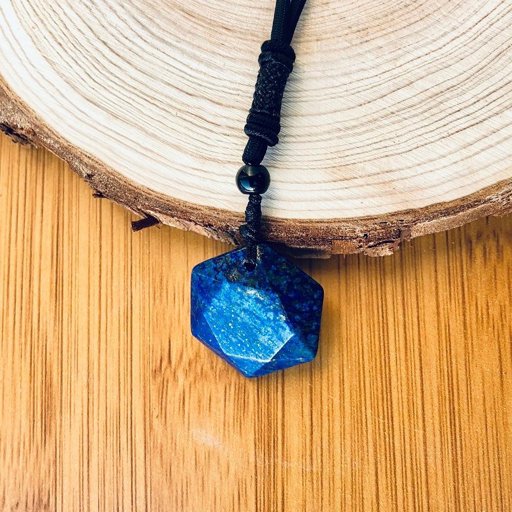 Lapis Lazuli Star of David Necklaces Women Natural Lazurite Wealth Pendant Necklaces Amulet Pendant Energy Stone Judaism Jewelry