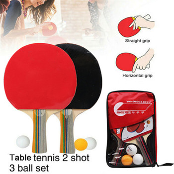 Professional Table Tennis Bat Racket Double Face Pimples In Long Short Handle Ping Pong Paddle Racket Set With Bag 3 Balls professional wrb carbon fiber table tennis racket double face pimples in table tennis rubber long or short handle ping ping bat