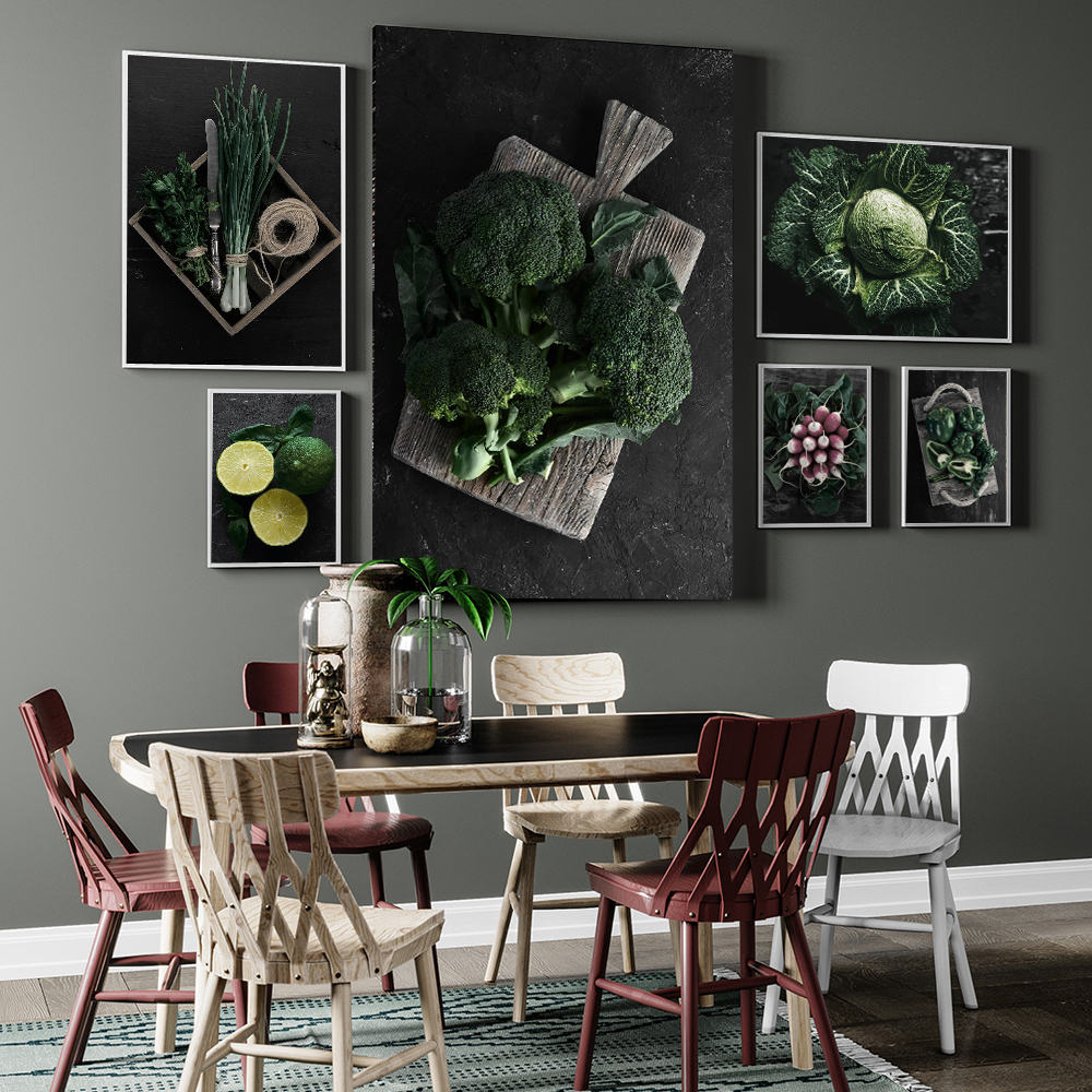 Broccoli Green Pepper Carrot Lemon Wall Decor Canvas Prints Vegetable Wall Art Pictures Kitchen Shop Restaurant Wall Art Posters(China)