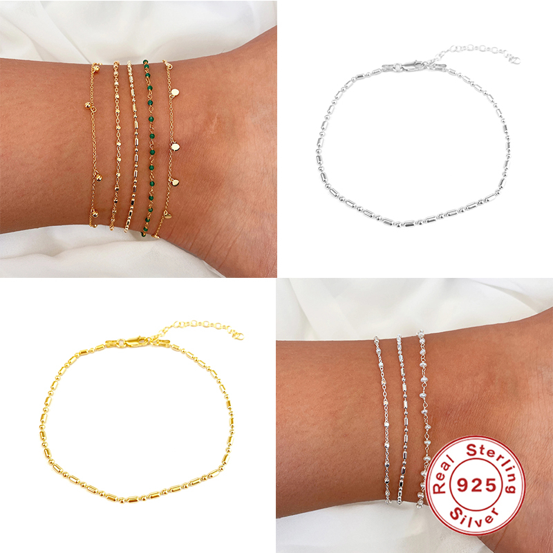 Genuine 925 Sterling Silver Pulseras Foot Anklets For Women Lovers' Valentine's Day Minimalist Ankle Chain Bracelets Gifts