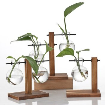 Vintage Hydroponic Plant Vases Transparent Flower Pot Wooden Frame Glass Tabletop Plants Vase For Home Bonsai Decor 1