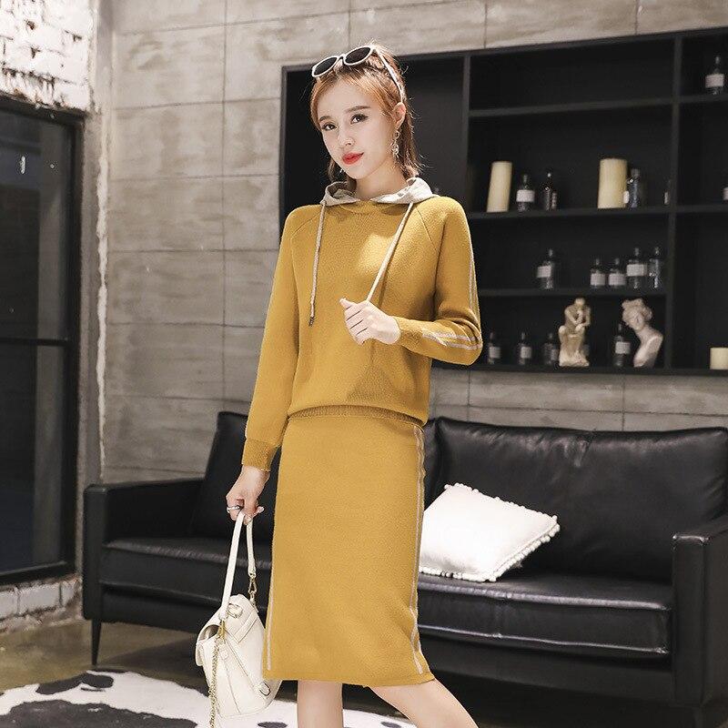Autumn New Style Korean-style Slim Fit Suit Dress Women's Long-Sleeve Knit Skirt Two-Piece Set