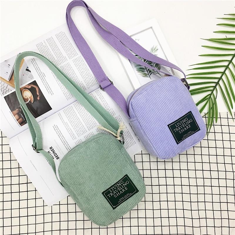 2020 New Style Casual Women Bag Canvas Crossbody Bag Square Sling Bag Corduroy Small Bag