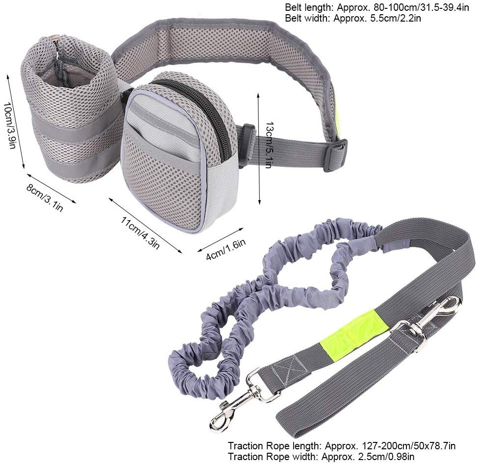 Ganyue Hands Free Elastic Dog Leash Adjustable Padded Waist Reflective Running Jogging Walking Pet Lead Belt With Pouch Bags|elastic dog leash|pet lead|dog leash - title=