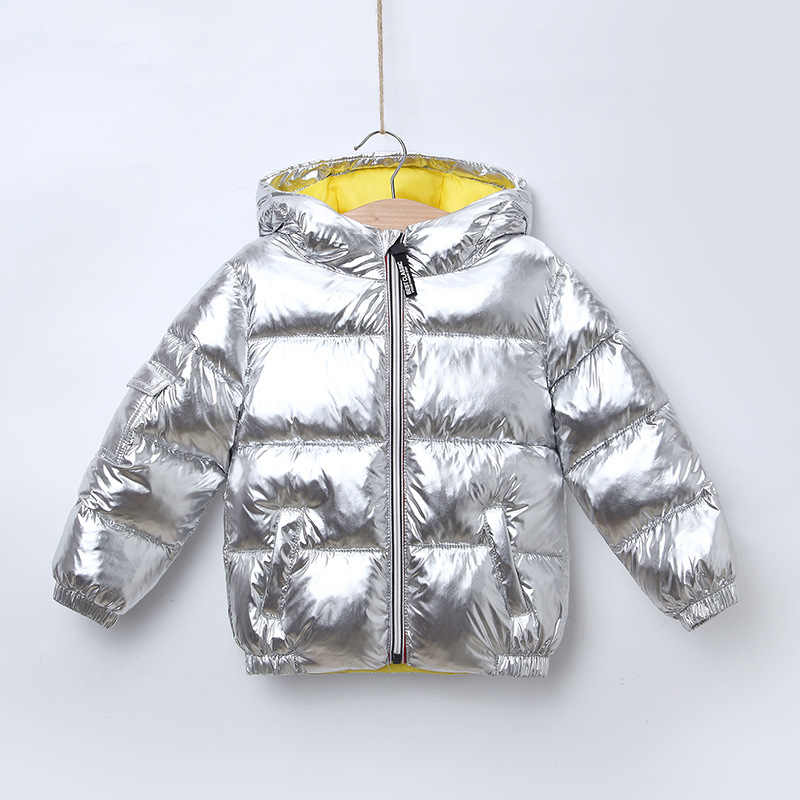 Children's winter fashion down jacket boys and girls space silver rose gold thickening coat girls children's cloth Jacket CT068