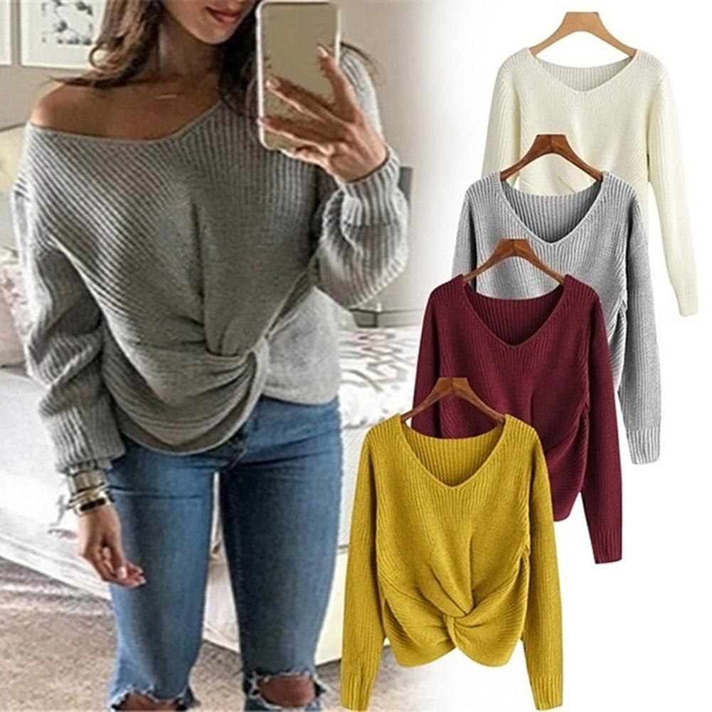 Women Solid Color V Neck Front Irregular Hem Knitted Plus Size Sweater