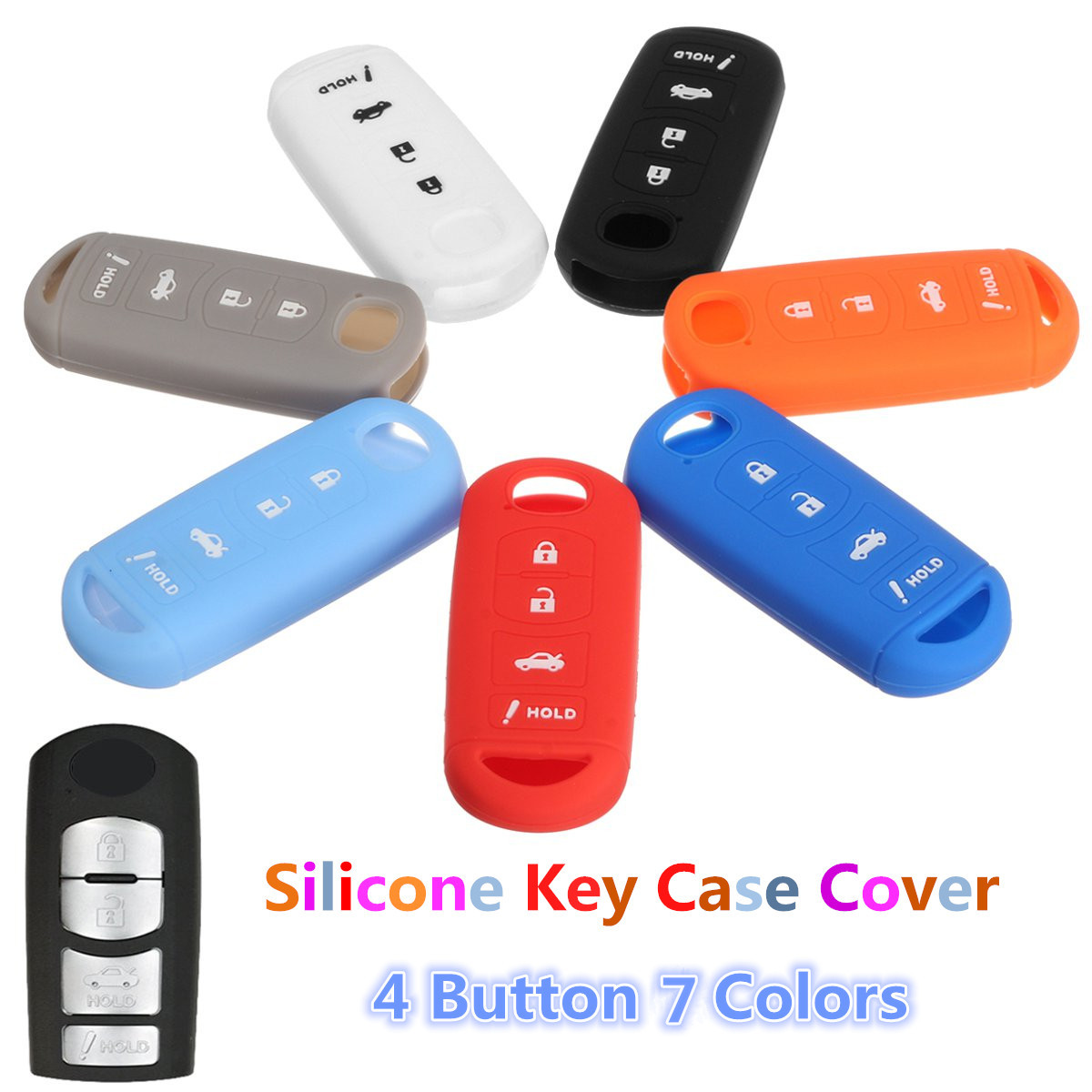 4 Button Silicone Car Key Cover Case Shell For MAZDA 3 6 MX5 CX-5 CX-7 CX-9-SCION-IA Protect Holder Shell Accessaries image
