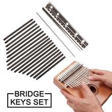 1 Set of African Kalimba Mbira 17-Key Thumb Piano Replacement Key And Bridge DIY Accessories