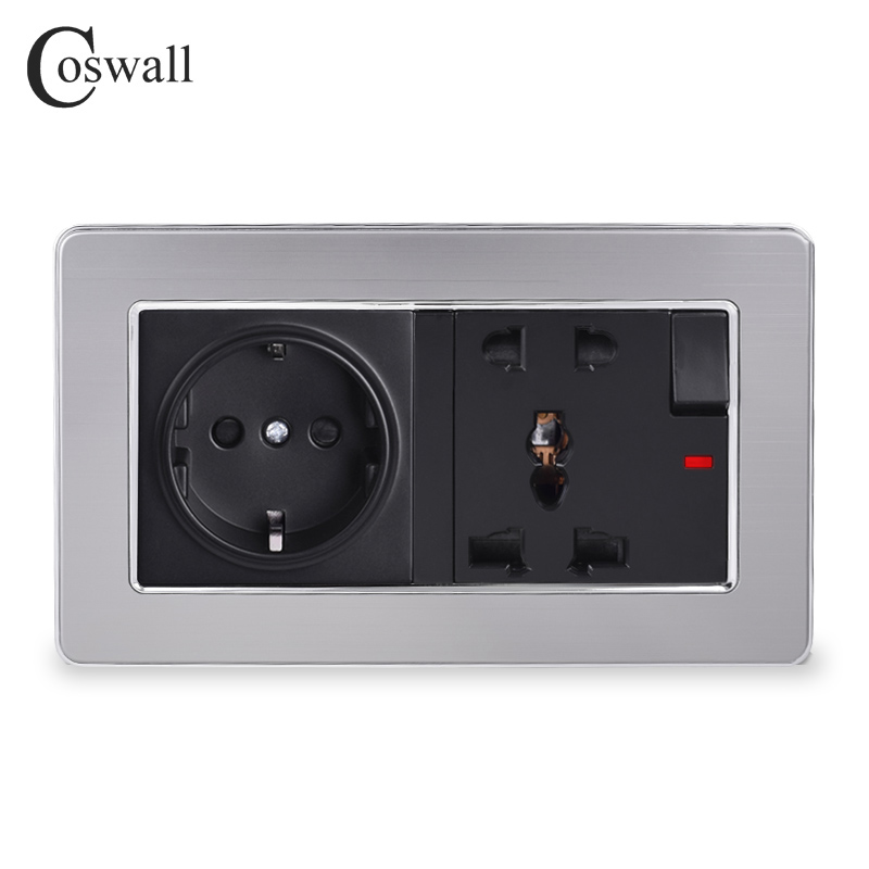 COSWALL Stainless Steel Panel 16A EU Socket + 13A Universal Switched Socket With Neon Grounded With Children Protective Door