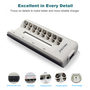 Image 5 - PALO 8 Slots AAA AA Batterie Ladegeräte LED Licht Smart batterie Ladegerät NI MH NI CD aa aaa Ladegeräte UNS EU UK AU Stecker Schnell Ladegerät