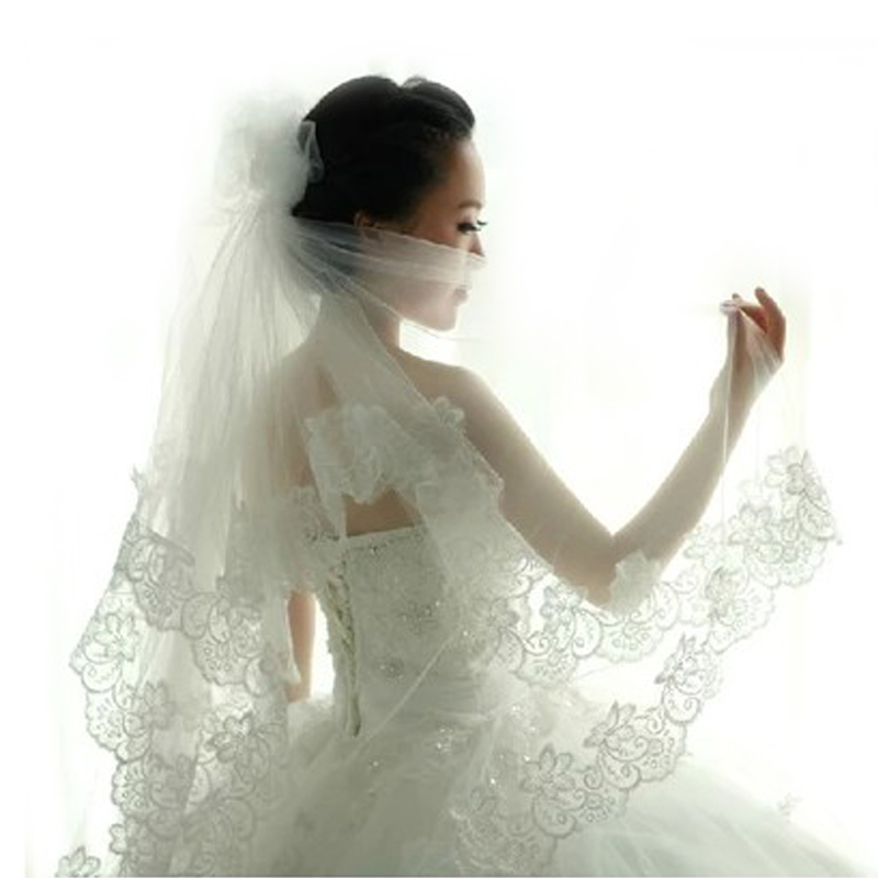 Cathedral Wedding Veils 1.3/1.8/2.5/5M 4.3/6/8.2/16.4Ft Long Lace Edge Bridal Wedding Accessories Mariage Bride Wel Wedding Veil