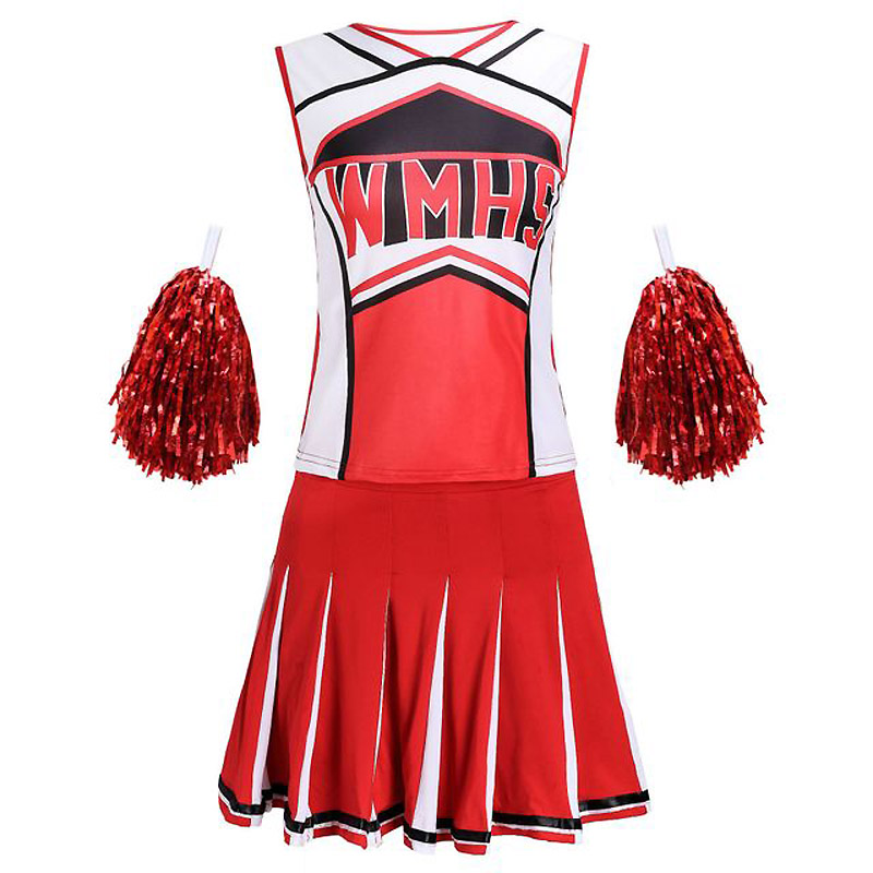 Top+Skirt+Pompoms Cheerleading Costumes Basketball Football High School Cheer Girl Dancing Show Cheerleader Party Uniform Costum
