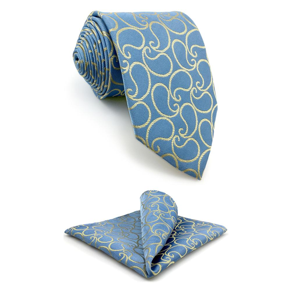 E9 Paisley Azure Yellow Silk Mens Necktie Set Wedding Classic Ties For Male Classic Novelty Extra Long Size Hanky