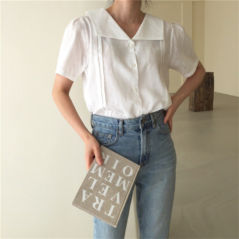 HziriP Streetwear All Match Short Sleeves 2020 Sweet Solid Gentle Shirts Vintage Office Lady Chic Puff Sleeved Pleated Blouses