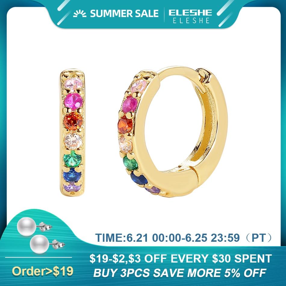 ELESHE 925 Sterling Silver Huggie Hoop Earrings for Women with 18K Gold Plated Cubic Zirconia Rainbow Earrings Statement Jewelry