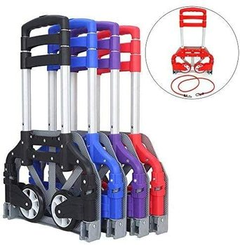 Portable Hand Truck Aluminum Folding Hand Cart, Hand Cart and Dolly Push Truck Trolley for Home, Auto, Office,Travel Use
