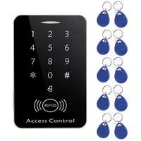 Leshp rfid autônomo leitor de cartão de controle acesso com teclado digital + 10 teclas tk4100 para casa/apartamento/fábrica sistema seguro