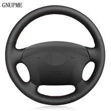 «Сделай сам» черного цвета из искусственной кожи чехол рулевого колеса автомобиля для Hyundai Azera 2005-2010 Sonata NF NFC 2005-2010 Kia Carens 2007-2011