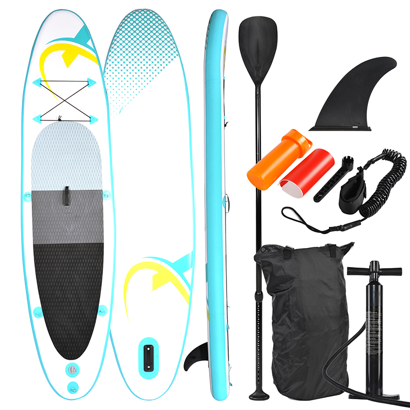 SUP320 Stand Up Paddle Board 320x78x15cm, Turquoise / Yellow - SUP, Surfboard, Surf Board Incl. Accessories