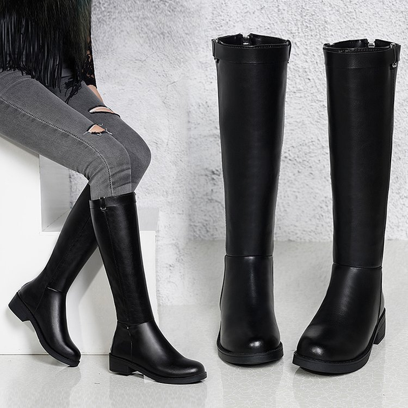 LZJ Women's Winter Shoes Knee High Boots Plus Big Size High Quality Faux Suede Brand Women Shoes Wool Women Winter Boots 35-40 image