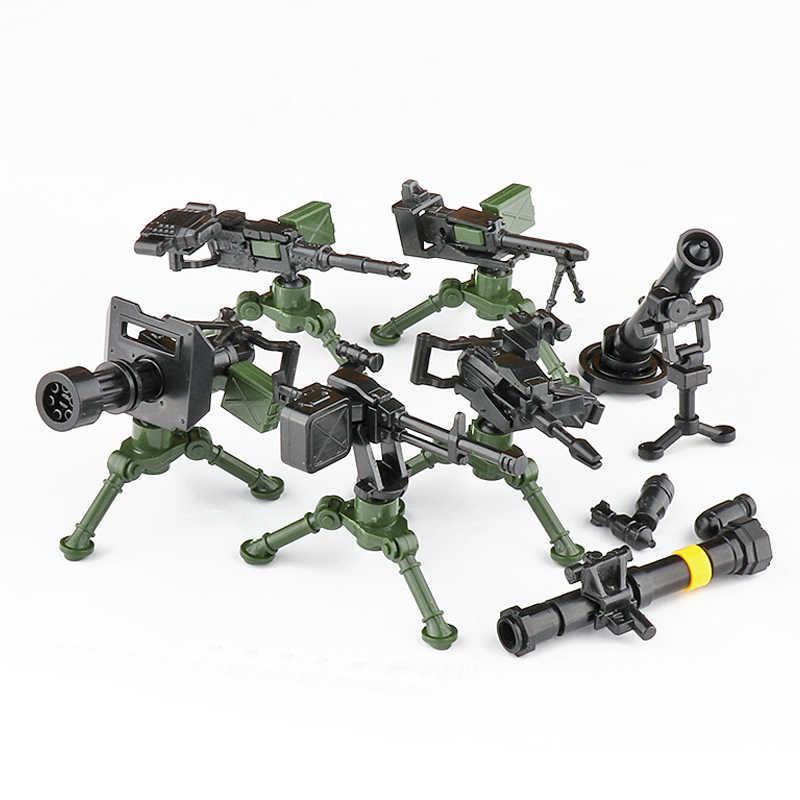 متوافق مع WW2 بندقية رشاش لبنات الجيش SWAT فريق تانك جاتلينج سلاح MOC اكسسوارات الطوب لعب للأطفال