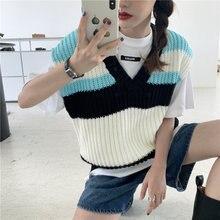 Женский трикотажный жилет в полоску повседневный свободный свитер