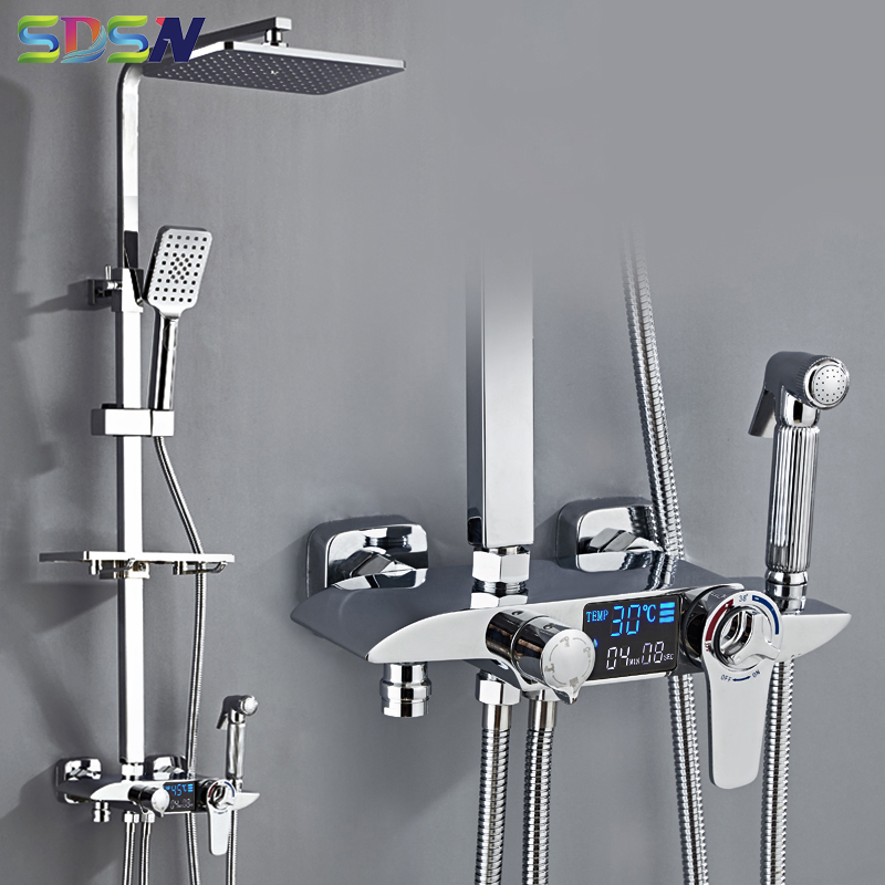 Thermostatic Shower Set Polished Chrome Bathroom Shower System Spa Rainfall Waterfall Faucets White Gold Digiltal Shower Set
