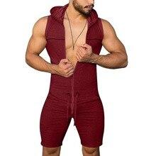 Мужчины% 27 пижама шорты без рукавов удобная домашняя одежда повседневная мужчины% 27 комбинезон пижамы чистый цвет без пуговицы пижамы 3XL мужчины одежда