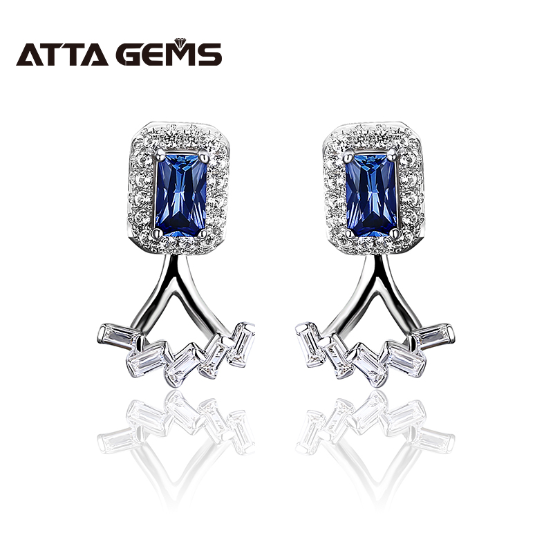 Blue Sapphire Sterling Silver Stud Earring Two Wearring Flexiable Design Octagon Created Sapphire Earring Gift for Personal