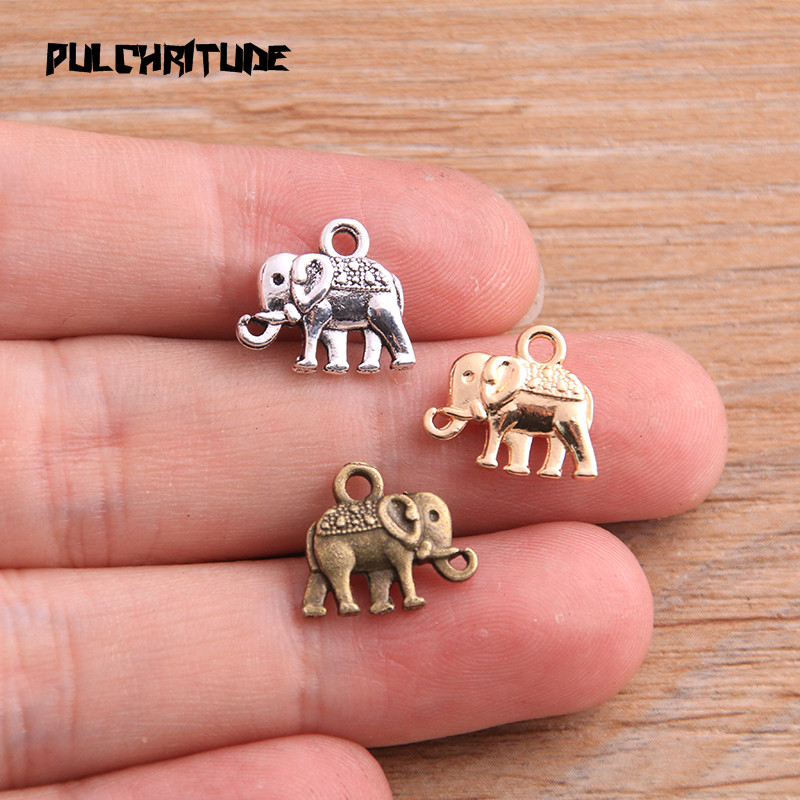 20pcs 12*13mm Three Color Metal Zinc Alloy Small Elephant Charms Fit Jewelry Animal Pendant Charms Makings 2