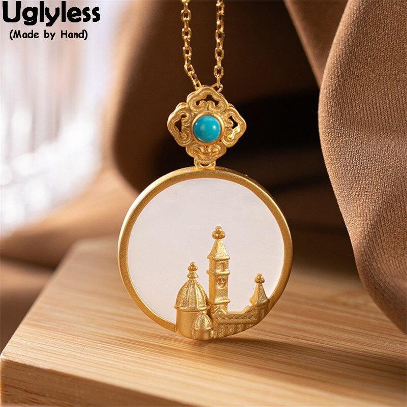 Uglyless moyen-orient château bijoux créatifs pour les femmes nouveau élégant naturel Jade pendentifs colliers conte de fées 925 bijoux en argent