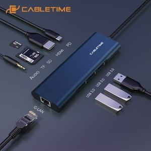 CABLETIME USB C HUB Type C to Multi USB 3.0 HDMI Adapter Dock for MacBook Pro HUAWEI PC USB-C 3.1 Splitter Port USB C HUB C259(China)