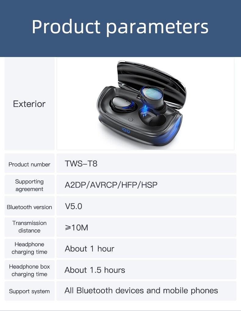 HJCE T8 TWS Wireless Bluetooth Earphones 12