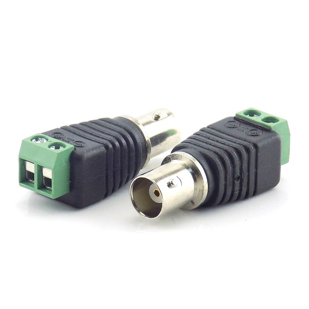 10pcs Coax Cat5 BNC Female Connectors Plug Adapter BNC Plug UTP Video Balun Connector For Cable CCTV Camera K15