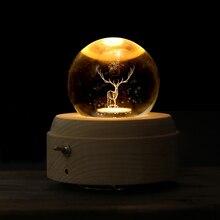3D Лось Луна хрустальный шар светящаяся вращающаяся музыкальная шкатулка Рождественский подарок на день рождения деревянная ручка музыкальная шкатулка украшение дома