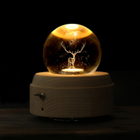 3D Elk Moon Crystal Ball Luminous Rotary Music Box Christmas Birthday Gift Wooden Hand Crank Music Box Home Decoration