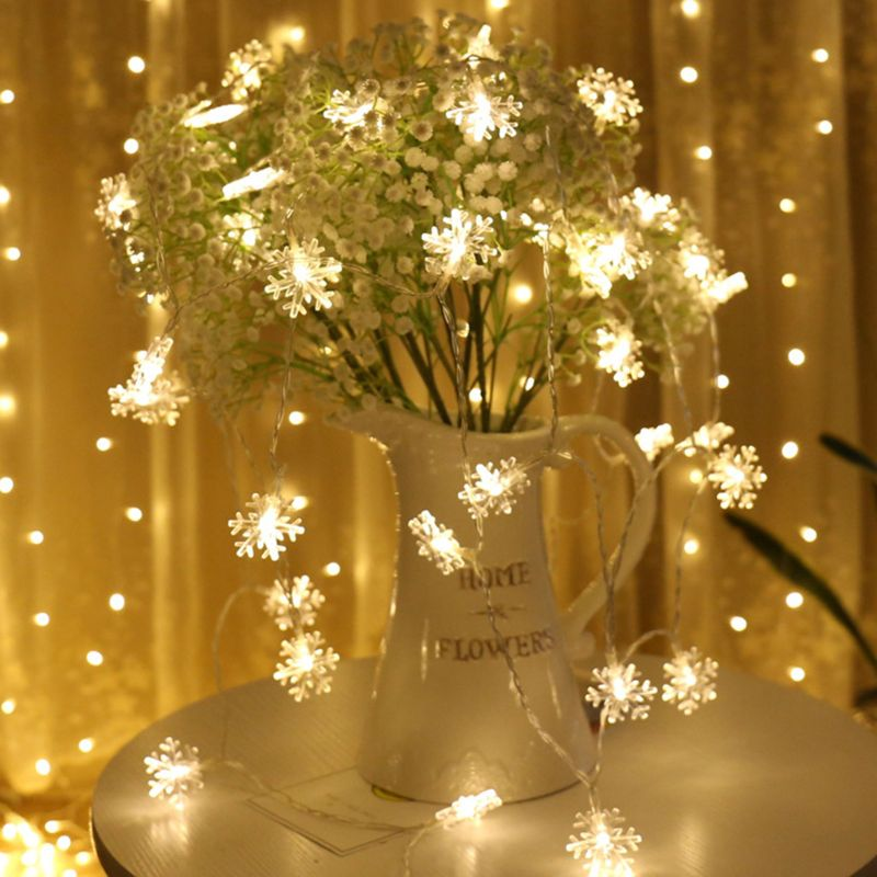 3D 40 LEDs Snowflake String Light 8 Modes Christmas New Year Home Store Decor 634E