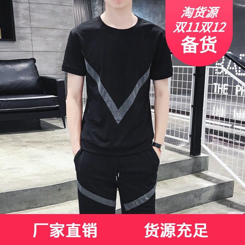 2019 Summer New Style Large V Design Shorts + Short Sleeve T-shirt Suit Men's Fashion Korean-style Slim Fit Sports Set