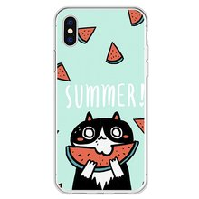 Phone Case Cat Eating Watermelon Soft Cover Shell Fashion Cellphone Protection Man Woman Fashion Accessories Mobile Phone cheap Half-wrapped Case