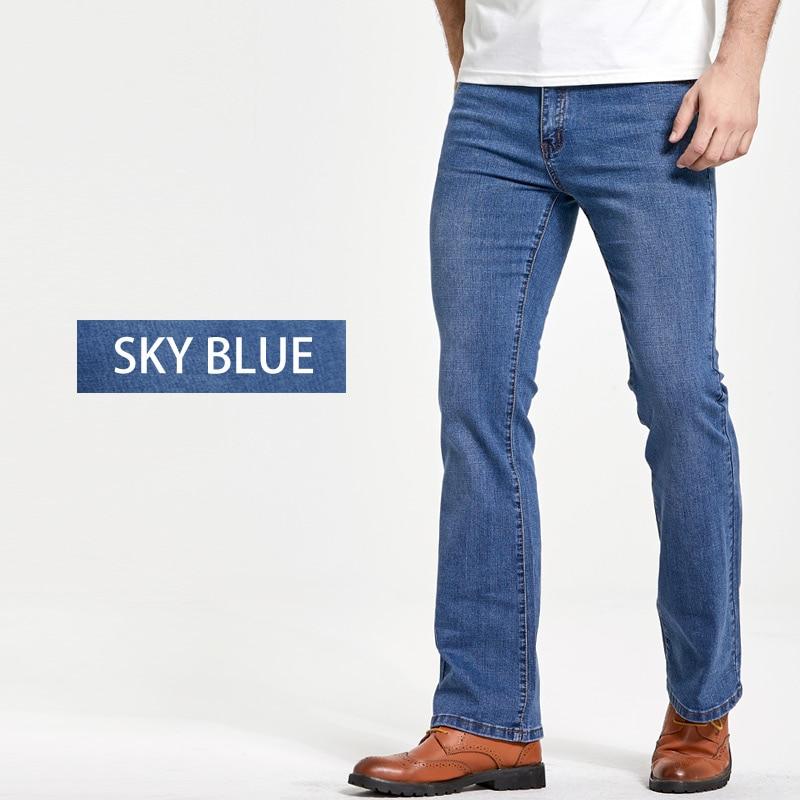 Men's Boot Cut Jeans Slightly Flared Slim Fit Famous Brand Blue Black jeans Designer Classic Male Stretch Denim jeans 3
