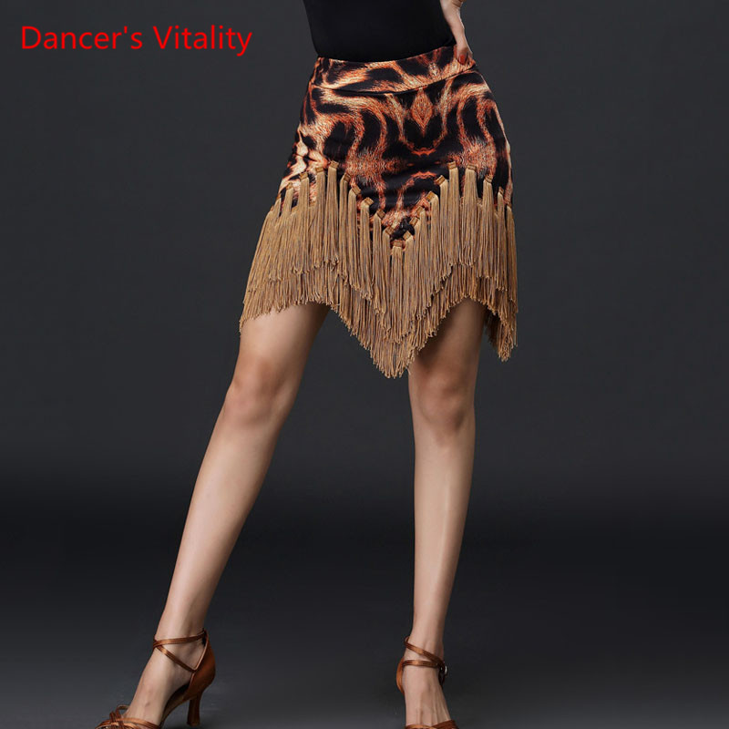 Latin Dance Female Adult Fashion Tassel Rumba Samba Dancing Competition Skirt New Performance Practice Clothing