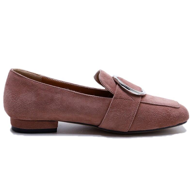 Femmes chaussures plates en cuir de vache véritable nouveau bout carré élégant dames C182 mode femme boucle noir blanc métal décoration chaussures - 4