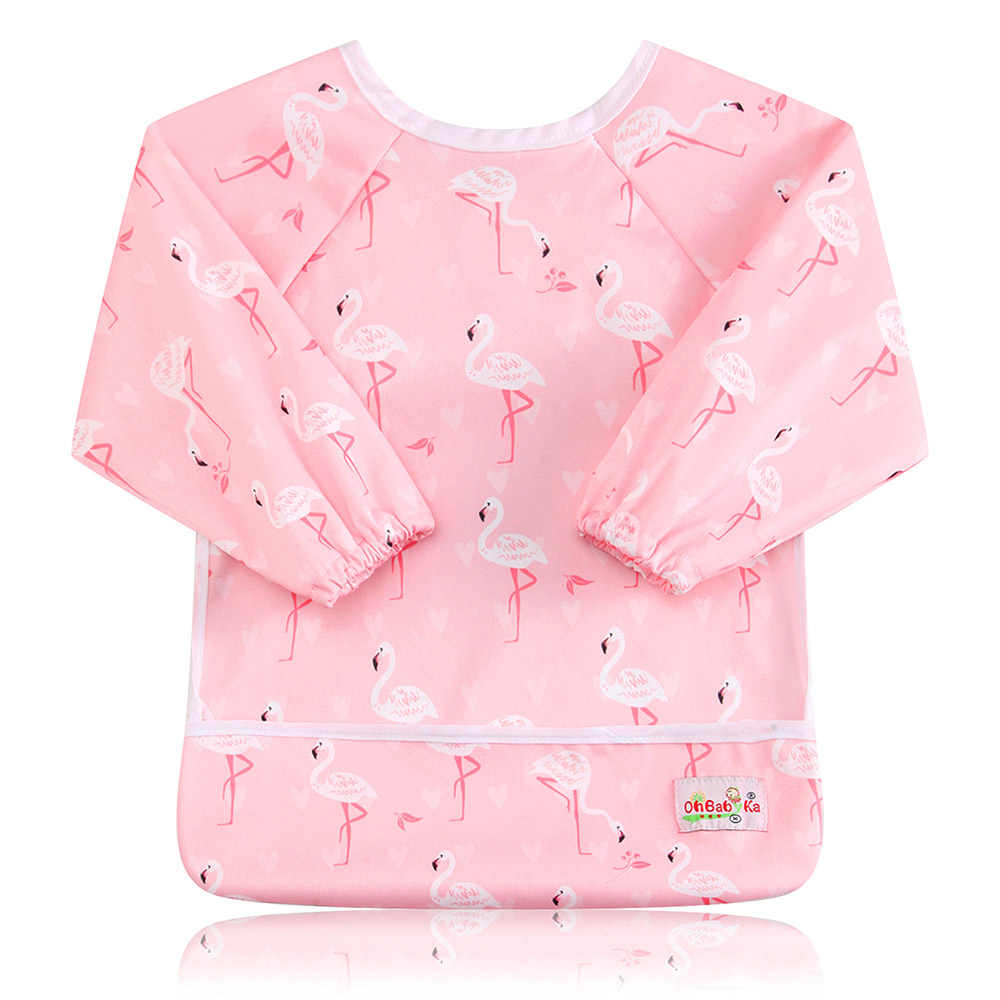 Ohbabyka Baby ผ้ากันเปื้อนผ้ากันเปื้อนกันน้ำน่ารักน่ารักเด็กทารกแขนยาว Baberos Impermeables เด็กให้อาหารด้วยตนเองและกิน