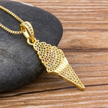 Fashion Ice Cream Necklaces & Pendants Top Quality Copper Copper CZ Necklace for Women Men HIP Hop Party Bar Jewelry Gift buddha jade pendant unisex 2018 new top quality fo jade for men women pendants jewelry fine necklaces good luck gift