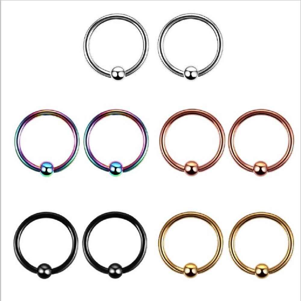 1pc פלדת פירסינג אוזן הרבעה טבעת מגזר האף טבעת שפתיים גבות פירסינג תעשייתי ברבל גוף תכשיטי פירסינג
