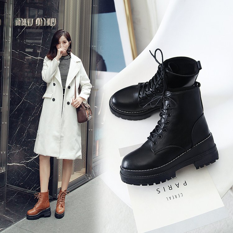 New Martin boots, women's English style, middle tube, thick bottom, thick heel and versatile short boots